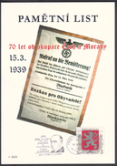 Czech Rep. / Commemorative Sheet (PaL 2009/03) 119 00 Praha 012: 70 Ann. Occupation Of Czechoslovakia (Hacha, Blaskowitz - Blocks & Sheetlets