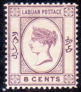 NORTH BORNEO LABUAN 1893 SG #41 8c MNG No Wmk Engraved Violet CV £13 Tiny Thin - North Borneo (...-1963)
