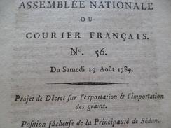 Assemblée Nationale Ou Courier Français Révolution 29/08/1789 Grains Sedan Colonies Mouvements Amiens Suite Constitution - Decreti & Leggi