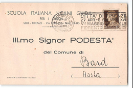 B524 SCUOLA ITALIANA CANI GUIDA PER I CIECHI FIRENZE X BARD AOSTA - TARGHETTA MAGGIO MUSICALE FIORENTINO - Marcophilie