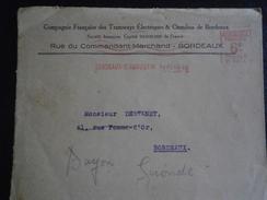 FRANCE TIMBRE EMA LETTRE ENVELOPPE ENV TRAMWAY ELECTRIQUE OMNIBUS BORDEAUX GIRONDE TRANSPORT - Marcophilie (Lettres)