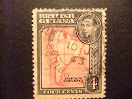 GUYANE BRITANNIQUE 1938 -  45 CARTE Yvert 164 FU - British Guiana (...-1966)