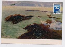NORTH POLE 6 Drift Station Base Polar ARCTIC Mail Card CM Carte Maximum USSR RUSSIA Plane Art Painting Ruban - Scientific Stations & Arctic Drifting Stations