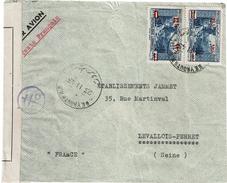 CTN49/09 - LIBAN LETTRE AVION BEYROUTH / LEVALLOIS PERRET NOVEMBRE 1945 CENSURE CROIX DE LORRAINE - Liban