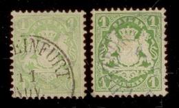 Bayern 1870-75, Staatswappen, 2 Einzelmarken: Mi. # 22 Y A Wz. 1 Y, 22 Y B Wz 1 Y . - Bavière