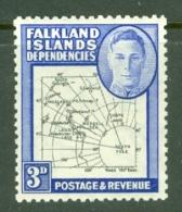 Falkland Islands Dep: 1946/49   KGVI - Maps   SG G4    3d    MH - Falkland Islands