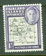 Falkland Islands Dep: 1946/49   KGVI - Maps   SG G2    1d    MH - Falkland