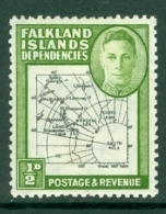 Falkland Islands Dep: 1946/49   KGVI - Maps    SG G1a   ½d  [Gap In 80th Parallel]  MH - Falkland