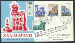 1961 SAN MARINO FDC RE.RU. VEDUTE TIMBRO ARRIVO - KS1 - FDC