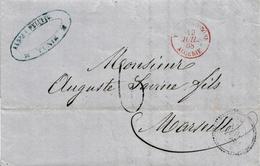 """VM234- VIA DI MARE - Lettera Da TUNISI A Marsiglia Del 1868 Tassata """"6"""" Decimi In Arrivo  Leggi - 1863-1870 Napoléon III Lauré"""