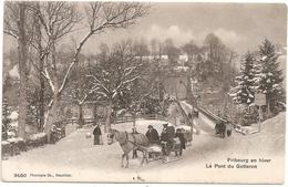 Cpa De Fribourg.le Pont  Du Gotteron En Hiver 1907.voyagée - FR Fribourg