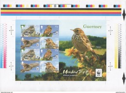 GUERNSEY, 2017, MNH, WWF, BIRDS, LIMITED EDITION IMPERFORATE UNCUT PRESS SHEET, ONLY 500 PRODUCED - W.W.F.