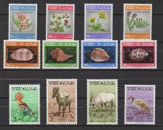 Q991.-. OMAN - 1982- FLOWERS, SHELLS, BIRDS, ORIX, HOOPOE -  MNH- SC#: 225-236 - Oman