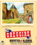 """Buvard Grégoire, Biscottes Allégées, """" Aux Martinets """". Illustration : Les Remparts De Carcassonne. - Biscottes"""