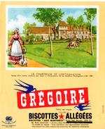 """Buvard Grégoire, Biscottes Allégées, """" Aux Martinets """". Illustration : La Chartreuse De Liget, Indre Et Loire. - Biscottes"""