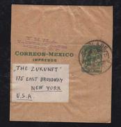 Mexiko Mexico 1937 Stationery Wrapper To NEW YORK USA - Messico