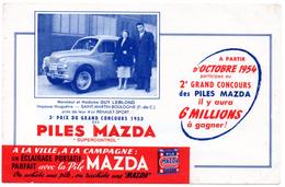 Buvard Piles Mazda, éclairage Portatif Parfait. Concours Avec Gain D'une 4 CV Renault. - Piles