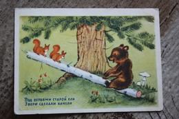 """SWING"" - OLD USSR PC 1954 - Bear - Mushroom - Champignon - Champignons"