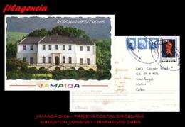 AMERICA. JAMAICA. ENTEROS POSTALES. TARJETA POSTAL CIRCULADA 2016. KINGSTON. JAMAICA-CIENFUEGOS. CUBA. BOB MARLEY - Jamaica (1962-...)