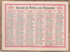 CALENDRIER ANNÉE BISSEXTILE  1896 - ALMANACH DES POSTES  ET DES TELEGRAPHES - - Calendriers