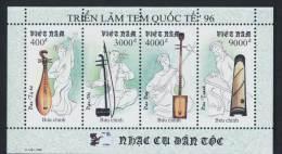 Vietnam Viet Nam MNH Perf Sheetlet 1996 : National Musical Instruments / Music (Ms729) - Vietnam