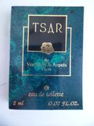 Tigette Ou  Tube De Parfum Echantillon 2 Ml  Eau De Toilette TSAR De Van Cleef & Arpels - Miniatures Modernes (à Partir De 1961)
