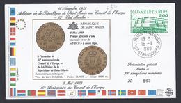 CONSEIL DE L´EUROPE ADHESION SAN MARINO SAINT-MARIN FDC LIMITED EDITION TIRAGE LIMITE 300 Ex - Lettres & Documents