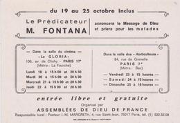 """RARE . CPM 10X15  Prédicateur M. FONTANA  à Paris Du 19 Au 25/10 """" Assemblées De Dieu De France """" - Glaube, Religion, Kirche"""