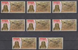 ISRAEL 2009  ATM KLUSSENDORF PREY BIRD SHORT TOED EAGLE FULL SET OF 8 STAMPS - Viñetas De Franqueo (Frama)