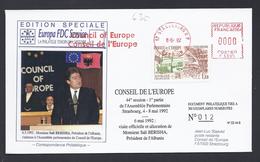 SALI BERISHA PRESIDENT ALBANIE CONSEIL DE L´EUROPE EUROPA PARLAMENT NUMEROTE TIRAGE LIMITE 300 Ex FDC COUNCIL OF EUROPE - Albanie