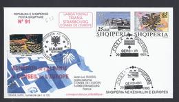 ADHESION ALBANIE TIRANA STRASBOURG  CONSEIL DE L´EUROPE TIRAGE LIMITE 100 Ex FDC COUNCIL OF EUROPE - Albanie