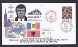 MIRCEA SNEGUR PRESIDENT MOLDOVA ADHESION MOLDAVIE ALBANIE CONSEIL DE L´EUROPE TIRAGE LIMITE 400 Ex FDC COUNCIL OF EUROPE - Moldova