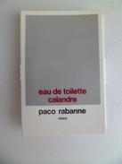 Tigette Ou  Tube De Parfum Echantillon  1,5 Ml  Eau De Toilette Calandre De PACO RABANNE - Miniatures Modernes (à Partir De 1961)