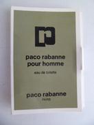 Tigette Ou  Tube De Parfum Echantillon  1,5 Ml  Eau De Toilette Pour Homme De PACO RABANNE - Miniatures Hommes (avec Boite)