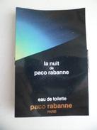 Tigette Ou  Tube De Parfum Echantillon  1,5 Ml  Eau De Toilette La Nuit   De PACO RABANNE - Miniatures Modernes (à Partir De 1961)