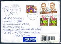 D99- Postal Used Cover. Posted From Romania To Pakistan. Animals. Flower. Famous People. - Romania