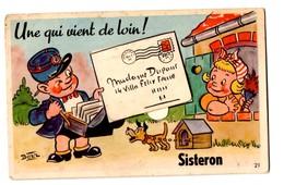 SISTERON ALPES DE HAUTE PROVENCE 04 LETTRE FACTEUR CHIEN Bozz Carte A Systeme - Sisteron
