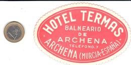 ETIQUETA DE HOTEL  - HOTEL TERMAS (BALNEARIO)  -ARCHENA - Adesivi Di Alberghi