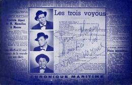 AUTOGRAPHES - CELEBRITES - LES TROIS VOYOUS - Théâtre PACRA à Paris - Dédicace - Autographes