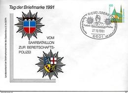ALLEMAGNE   Lettre  PAP 1991 Riegelsberg Police Armoiries - Police - Gendarmerie