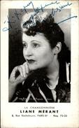 AUTOGRAPHES - CELEBRITES -  LIANE MERANT - Théâtre PACRA à Paris - Dédicace - - Autographes
