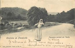 BELGIQUE FLORENVILLE  Paysanne Portant De L'herbe  2 Scans - Florenville
