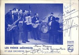 AUTOGRAPHES - CELEBRITES -  LES FRERES MEDINGER - Orchestre - Théâtre PACRA à Paris - Dédicace - - Autographes