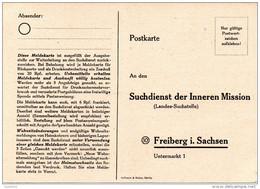 """(L) Suchdienst-Postkarte """"Suchdienst Der Inneren Mission (Landes-Suchstelle)"""" Freiberg I. Sachsen, Ungebraucht - Zone Soviétique"""