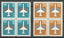 """DDR 2831/32 Viererzusammendruck """" Flugpostmarke Aus Bogen: 5 U.20 Pfg, Satz Kpl.."""" Postfrisch.Mi 3,00 - Neufs"""