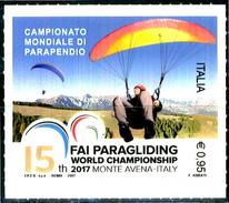 ITALIA / ITALY 2017** - Campionato Mondiale Di Parapendio - 1 Val. MNH Autoadesivo Come Da Scansione - Paracadutismo