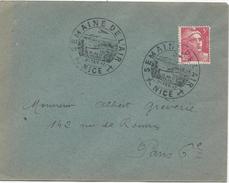 LETTRE 1947 AVEC CACHET SEMAINE DE L'AIR NICE SUR TIMBRE AU TYPE MARIANNE DE GANDON - Marcophilie (Lettres)