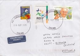 GOOD BRAZIL Postal Cover To ESTONIA 2015 - Good Stamped: Pan American Games ; Pope - Brazil