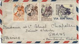 2 LETTRES PAR AVION 1947 AVEC 4 TIMBRES ET CACHET DE BOBO DIOULASSO - COTE D'IVOIRE - A.O.F. (1934-1959)