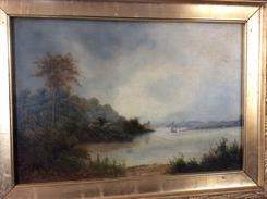 Landschaft WEIMARER MALERSCHULE (HEIMATSKREIS WEIMAR) Ca  1860 Gemälde [Ölbild Oil Painting Tableau Kunst - Huiles